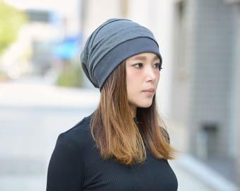Slouchy Beanie made from 100% Linen - Baggy Beanie for Men Women - Japanese & Korean Fashion - Oversize Slouch Hat - Made in KOREA - bw-llb