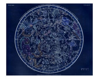 Southern Hemisphere Constellation Celestial Map - Astronomy Gift - Astrology Art - Zodiac Sign - Star chart - Old Maps and Prints
