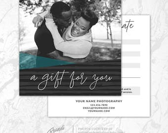 Photography Gift Certificate Template, Photoshop Gift Card Template, Photography Studio Gift Voucher, Photo Gift Card, Printable, PSD, GC5