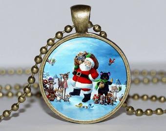 Santa Necklace Pendant.  Christmas Pendant. Christmas Necklace. Christmas  Xmas Gift. Fairy Tale Necklace for family.  Father Christmas