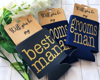 Groomsmen Proposal -  Will You Be My Groomsman - Will You Be My Best Man - Groomsman Proposal - Groomsman Can Cooler - Bachelor Party Favors