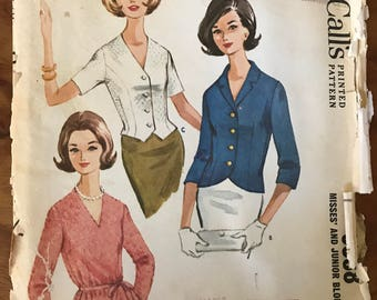 McCalls 6888 - 1960s Button Front or Back Blouse with Shaped Hem - Size 16 Bust 36
