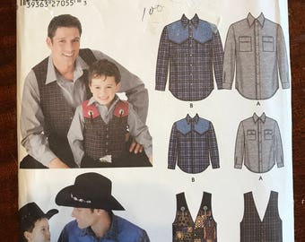 Simplicity 5366 - Easy to Sew Father and Son Matching Wester Styled Shirt and Vest - Size Child S M L Man S M L XL