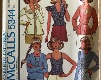 McCalls 5344 - 1970s Bustier Style Top or Square Neck Shirt and Long or Ruffle Cap Sleeve Jacket - SIze 14 Bust 36