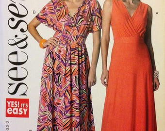 See & Sew B6308 Easy Pullover Dress with Surplice Wrap Bodice in Sleeveless or Extended Shoulder - 8 10 12 14 16 18 20 22 24