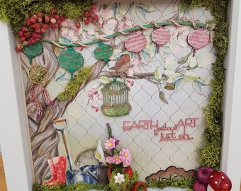 Earth without art deep shadow box diorama of a Country Garden, Garden lovers 3D unique flowers moss and ladybirds touchable art