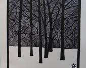 """Linogravure originale """"Jardin d'hiver"""" - Tirage limité, numéroté et signé de l'artiste / Arbres / Nature / Forêt / Hiver / Noir et blanc"""