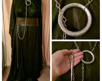 Sansa Stark Inspired needle necklace prop, Season 7 GOT necklace, cosplay needle and ring chain, 3D PLA print prop