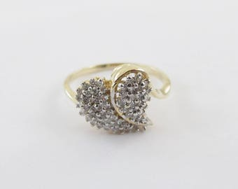 14k Yellow Gold Diamond Heart Ring - 14k gold women's diamond ring Size 7