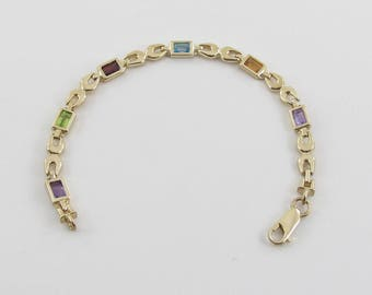 14K Yellow Gold Multi Color Gemstones Bracelet 7 Inches 3.00 carats