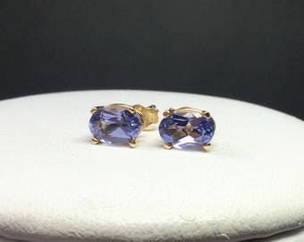 Tanzanite Earrings 14 KT Yellow  Gold