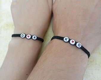 Personalized Couples Bracelet, Name Monograms  Bracelet, Love Bracelet, Set of 2 Bracelets, Husband Wife Bracelets, Couples Gift