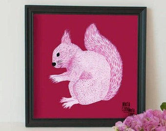 Blade squirrel, in pink, exclusive of the collection Retrats Bestials of Marta Comas Illustration