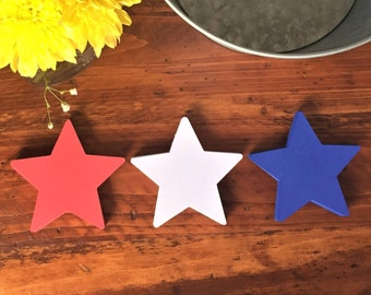 "Red, White Blue Paper Stars (4"" wide), Star Die Cuts - July 4, 4th of July, Patriotic Veteran Star Cutouts, All Purpose Paper Stars"