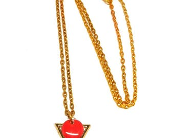 Gold plated necklace, triangular, and dark pink sequin