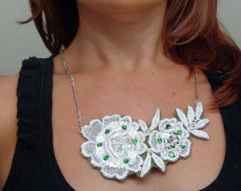 Hunter Green/ Lace Statement Necklace Hand-Sewn