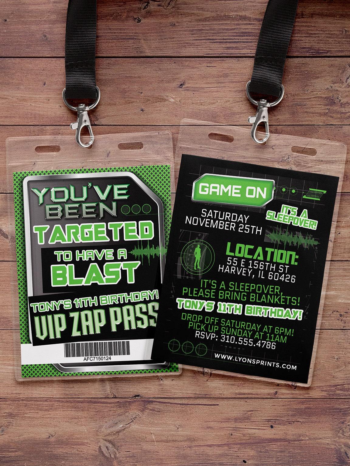 Laser tag invitation - VIP pass birthday invitations for laser tag ...