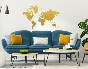 Gold foil globe etsy gold world map wall decal gold office decor bedroom wall decal office gumiabroncs Choice Image