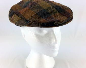 Mens Flat Cabbie Hat Vintage English Hatter Amsterdam Newsboy Brown Plaid Wool