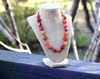 Carnelian Gemstone Nugget Antique Brass Necklace