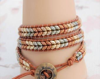 Triple Wrap Bracelet- Rose/Green/Ivory