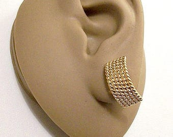 Monet Square Link Chain Discs Pierced Stud Gold Tone Earrings Vintage Long Curved Imprinted Rows Wide Band Big Buttons