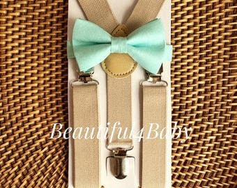 Mint Baby Bow Tie & Tan Khaki Suspender Set, Mint Baby Bow Tie, Mint Toddler Bow Tie, Mint Little Boy Bow Tie, Mint Ring Bearer- 6 Mo-5yrs