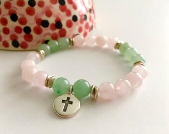 Green Aventurine Rose Quartz Cross Bracelet