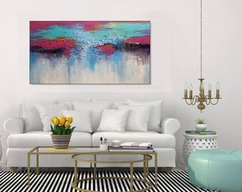 SALE Large Canvas Art Colorful Abstract Art Aqua Green Magenta, Modern Abstract Textured Painting, Original Art, Living Room Art Christovart
