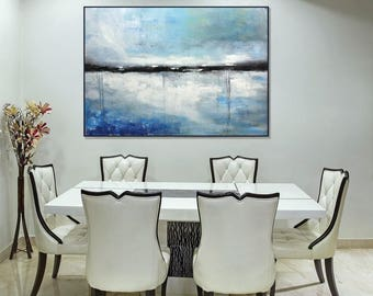 Large Abstract Seascape Canvas Art Original Blue Painting Coastal Wall Decor Dining