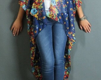 Navy Blue Boho Tunic Swimsuit Cover Floral Print Sheer Gauze Cotton Fabric Duster Caftan Kimono Top Cardigan Onesize SML Plus Size