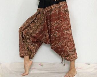 Touch Soft Silk..Orange Brown Soft Silk Harem Pants with Leaf patterned (HR-590)