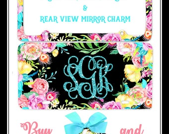 Floral car tag, Watercolor car tag, boho car tag, monogram car tag, glitter car tag, flower car tag, Personalized car tag, Glitter monogram