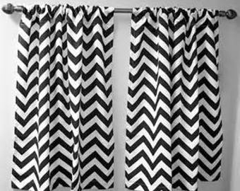 Black and white damask curtains