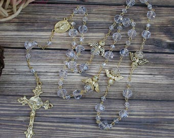 FAST SHIPPING!!! Handcrafted Beautiful Gold Rosary, Wedding Rosary, Communion Rosary, Christening Rosary, Confirmation Rosary, Rosary Gift