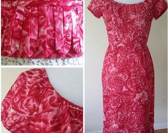 50's dress, S, M,  batik dress, pink dress, cotton dress, lace dress, fitted dress, vintage 50s, vintage 50s dress