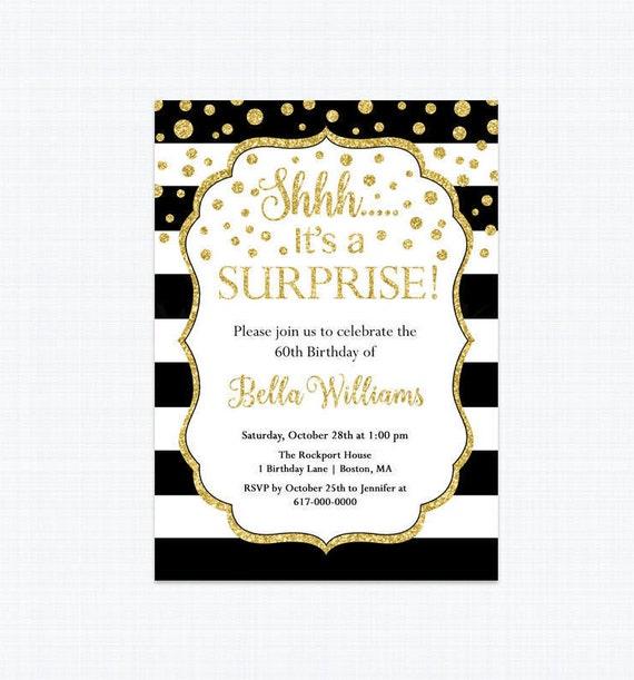 Surprise birthday invitation black white and gold 30th 40th 50th il570xn filmwisefo