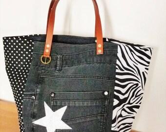 Polka dot black/zebra/denim recycled patchwork tote bag / Star / camel leather handles