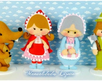 Caperucita-Lobo fierce-woodcutter-Granny-decoration Habitacion-ninos-ninas-regalo-cumpleanos-baby Shower-children-tale little Red Riding Hood