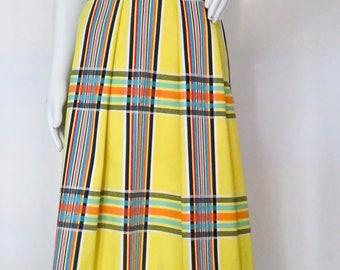 Vintage 1970s Plaid Cotton Halter Maxi Dress w/ Eyelet Hem