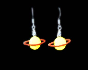 Saturn Earrings, 925 Silver Wires, Yellow Orange Rings Planet Inspired by the Fierce Ms. Frizzle, Magic School Bus Astronomy