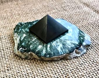 Tiny Shungite Pyramid on Slab of Seraphinite
