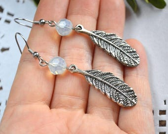 feather jewelry long earrings silver feather gemstone jewelry feather earrings moonstone dangle earrings woodland jewelry earrings gemstone