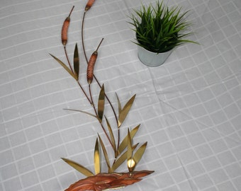Vintage Brass & Copper Cattail Leaves Wall Sculpture Hanging