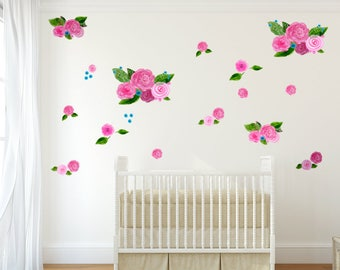 Pink Watercolor Floral Decals   Art Decals For Walls, Tile And Furniture    Nursery Wall
