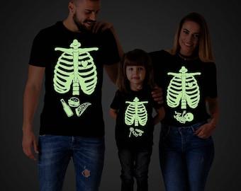Glow in the dark shirt, Glow in the dark clothing, Halloween maternity shirts, Skeleton baby shirt, Halloween shirt, Baby boy, UNISEX