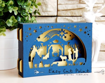 Sale 50% - Nativity Christ Shadow box 3D Card Laser cut Christmas template File (SVG, DXF) Mary Joesph Cameo Cricut Digital Instant Download