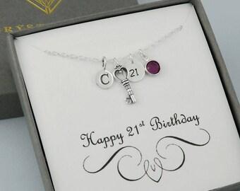 21st Birthday Key Necklace, Personalized 21st Birthday Gift For Women, Initial Birthstone Necklace, Birthday Key Charm Jewelry