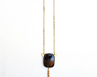 Ronan//Pietersite Necklace//Stone Necklace//Valentines//Gold Tassel Necklace