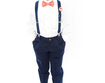 Coral Bow Tie, Navy Suspenders, Coral Pocket Square -- Ring Bearer Outfit -- Groomsmen Bow Tie Suspenders Pocket Square
